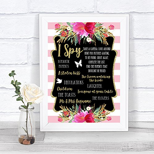 Gold & Pink Stripes I Spy Disposable Camera Personalized Wedding Sign Hearts Disposable Wedding Cameras