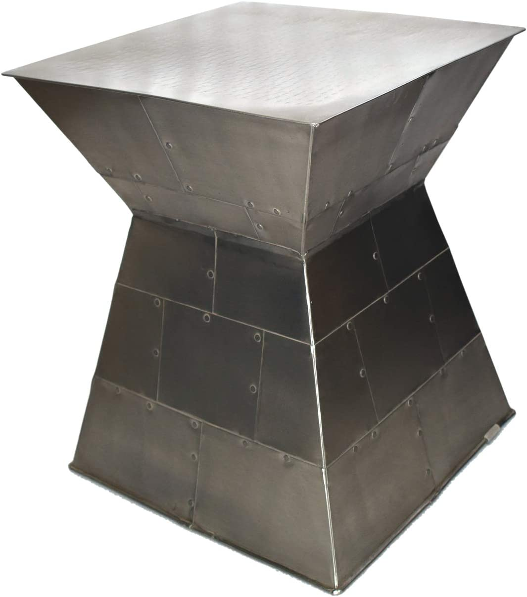 Foreign Affairs Home Décor Industrial Chic Silver Metal Accent Table Cape