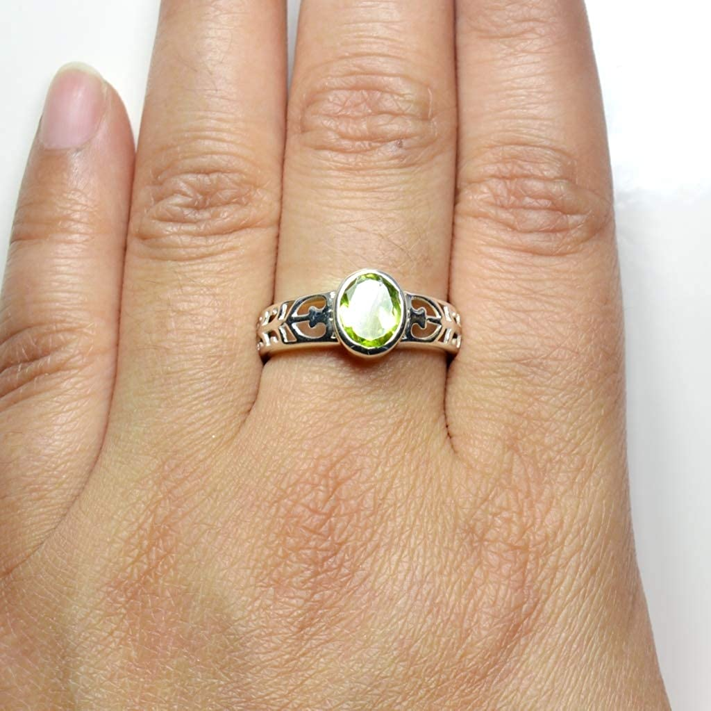 Natural peridot ring for women oval cut ring August birthstone ring silver