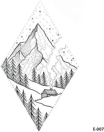 WYUEN 5 hojas de tatuaje temporal de montaña para mujeres cuerpo ...