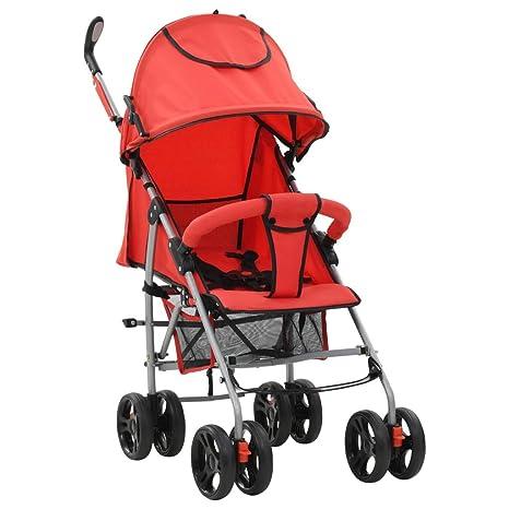 vidaXL Cochecito Sillita Paseo de Bebé 2 en 1 Rojo Acero Carritos Transporte