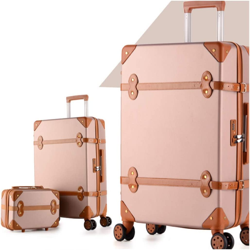 Runtongshanghang Male and Female Students Retro Suitcase Universal Wheel Trolley case Password Box Zipper Suitcase 20 inch Color : Pink