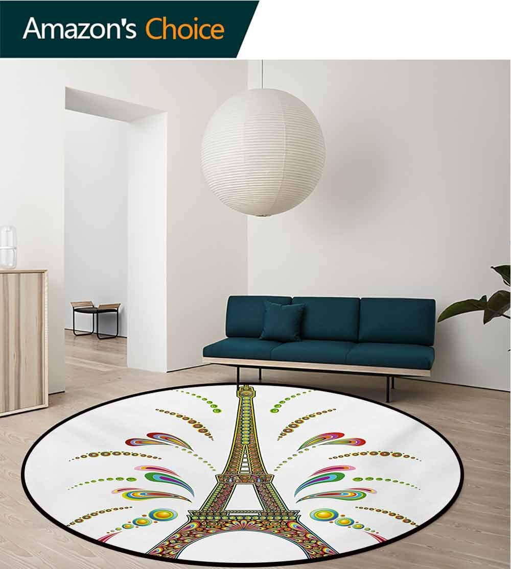 RUGSMAT Psychedelic Rug Round Home Decor Area Rugs,France Eiffel Tower Abstract Fireworks Design with Rainbow Psychedelic Patterns Art Non-Skid Bath Mat Living Room/Bedroom Carpet,Diameter-71 Inch