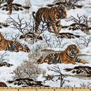WinterFleece Snow Tigers Tan Fabric