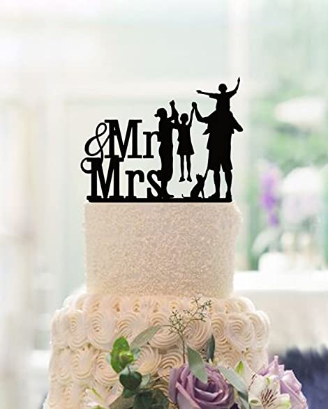 Amazon.com: Happy Family Wedding Cake Toppers Anniversary Couples ...