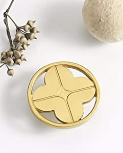 6pcs Gold Color Bronze Alloy Knobs, Kitchen Cupboard Drawer Pulls Kitchen Wardrobe Furniture Handles (6pcs, Round 4-Leaf Button)