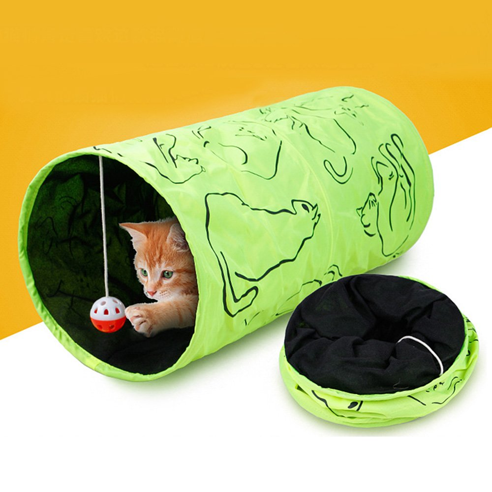 VANKER Printed Collapsible Pet Toy Tunnel with Ball for Cat Puppy (Green)