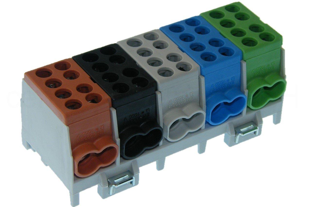 Hauptleitungs Abzweigklemme 5 polig für Hutschiene - Strom Verteiler … Pollmann