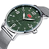 Men's Analog Quartz Watch Slim Date Stainless Steel Mesh Band Casual Wrist Watches for Men Silver Green