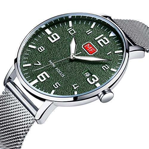 Men's Analog Quartz Watch Slim Date Stainless Steel Mesh Band Casual Wrist Watches for Men Silver Green -