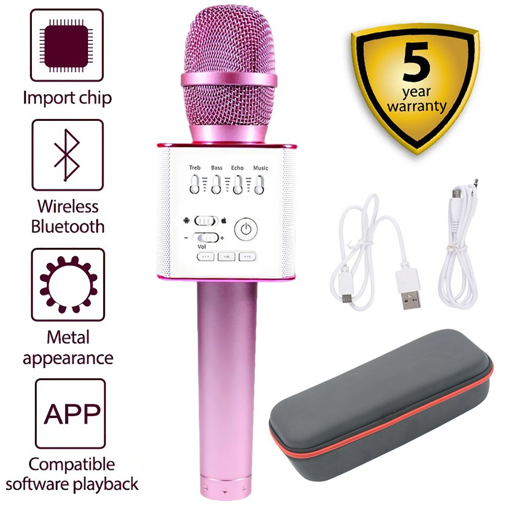 Portable Mic 3-in-1 Bluetooth Magic Karaoke Machine Wireless Microphones Handheld Stereo Speaker Outdoor Family KTV Party For Apple iPhone Android Smartphone PC (Q9 Pink) HaiShuLin