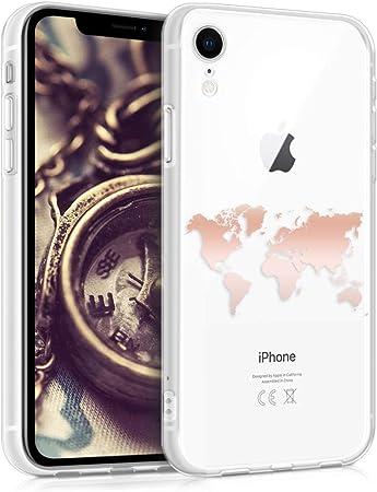 Kwmobile Hülle Kompatibel Mit Apple Iphone Xr Handyhülle Handy Case Travel Umriss Rosegold Transparent Elektronik