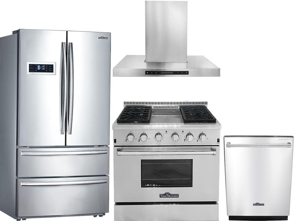 "Thor Kitchen 4-Piece Stainless Steel Kitchen Package HRF3601F 36""French Door Refrigerator,HRG3617U 36""Freestanding Gas Range, HDW2401SS 24""Fully Integrated Dishwasher and HRH3604U 36""Range Hood"