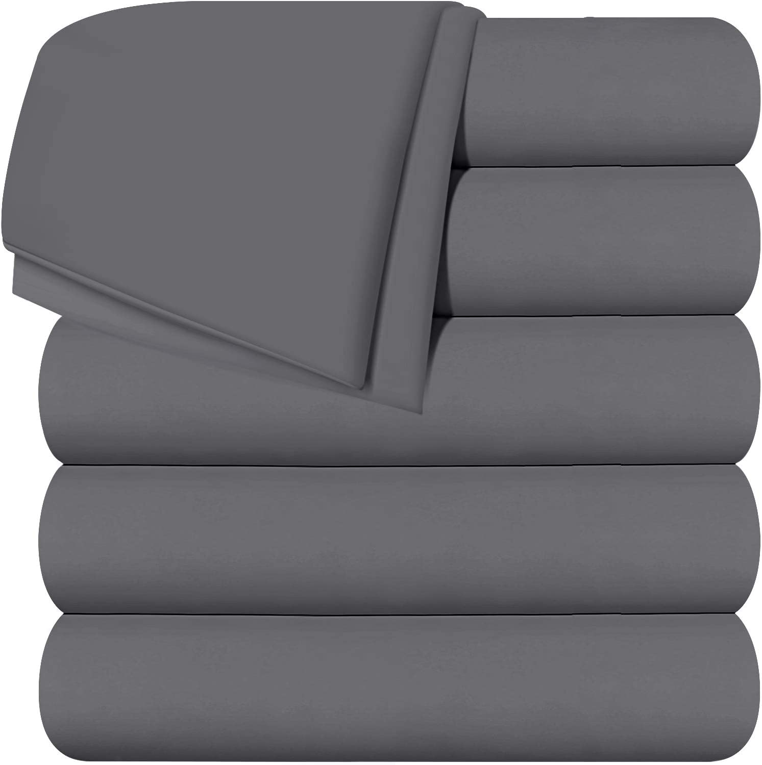 Utopia Bedding Flat Sheets - Pack of 6 - Soft Brushed Microfiber Fabric - Shrinkage & Fade Resistant Top Sheet - Easy Care (Queen, Grey)