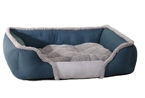 MARRYME Cama para Mascotas Perros Gatos Cachorros Caliente Invierno Azul Medium/66×54×