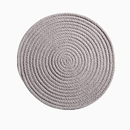 Amazon Com Levinis 12 Inch Grey Round Place Mats 100 Cotton Placemats For Dining Table Heat Resistant Placemats Stain Resistant Washable Kitchen Table Mats Home Kitchen