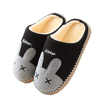 090f83cfb1188 Tukistore Adulte Pantoufles de modèle de Lapin de Bande dessinée Hommes  Femmes Hiver Mule de Coton