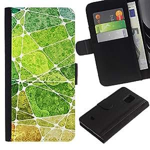 All Phone Most Case / Oferta Especial Cáscara Funda de cuero Monedero Cubierta de proteccion Caso / Wallet Case for Samsung Galaxy S5 Mini, SM-G800 // Leaf Green Nature Painting Abstract