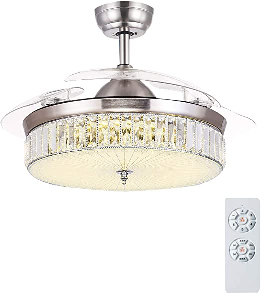 Ceiling Fan Light JY- Luz para Ventilador de Techo, Lámpara LED Regulable, Motor Silencioso con Láminas Invisibles Retráctiles y Control Remoto, para el Salón Dormitorio Restaurante: Amazon.es: Hogar