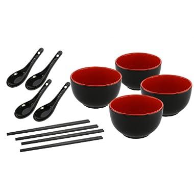 KOVOT Asian Cuisine Ceramic Serving Bowl Set - Includes (4) 20-Ounce Bowls, (4) Oriental Spoons, (4) Sets Of Chopsticks