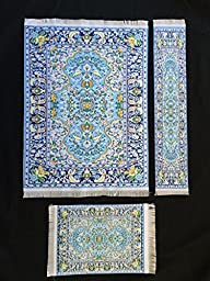 Set Blue Woven Rug Mouse Pad + Rug Coaster + Rug Bookmark - Oriental Style Carpet Mousemat Miniature Rug