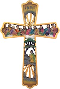 Easter Wall Cross Decor Religious Jesus Christ at The Last Supper Hanging Art, 10 Inch 1/4 Inch