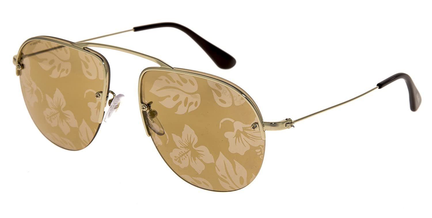 693adf6b1 Amazon.com: PRADA TEDDY PR58OS Aviator Gold Brown Hibiscus Mirrored Rimless  Sunglasses 58O Unisex: Clothing