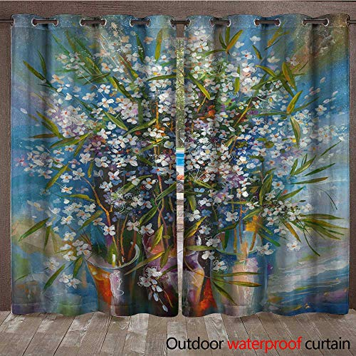 BlountDecor Outdoor Waterproof Curtain an Oil Painting on Canvas of Blossoming Jasmine in a vase Artistic Work in Bright and Juicy Colors Author Nikolay Sivenkov Waterproof CurtainW108 x ()