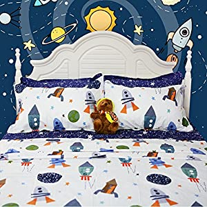 Brandream Space Bedding For Kids Boys Bedding Galaxy Bedding Sets Rockets Super Soft Bed Sheet Set Cotton Bed Sheets Sets-Flat Sheet Fitted Sheet Pillowcase Twin Size
