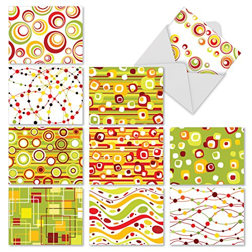 M3038 Circ-O-Delic : 10 Assorted Blank All-Occasion Note Cards Present Retro '60s Circles and Squares Patterns w/White Envelopes. (Squares Retro Pattern)