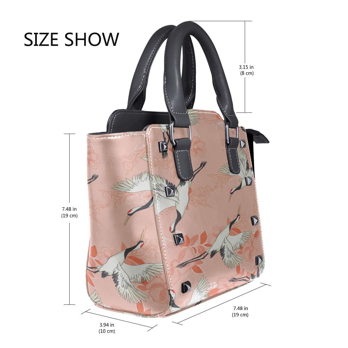 Messenger Bag Cross Body Crane Pattern Flying Bird Custom Handle Purses Pu Leather Rivet Portable Fashion Printing Waterproof With Zipper Big Shoulder Bags For Men