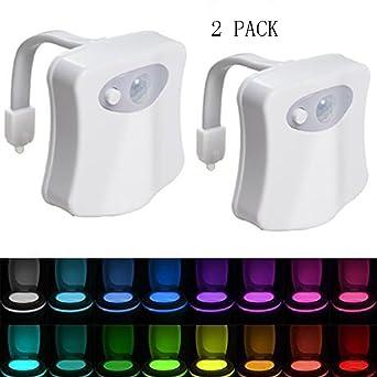 Surenhap 2 Stück LED Toilette Nachtlicht mit Bewegungsmelder und ...