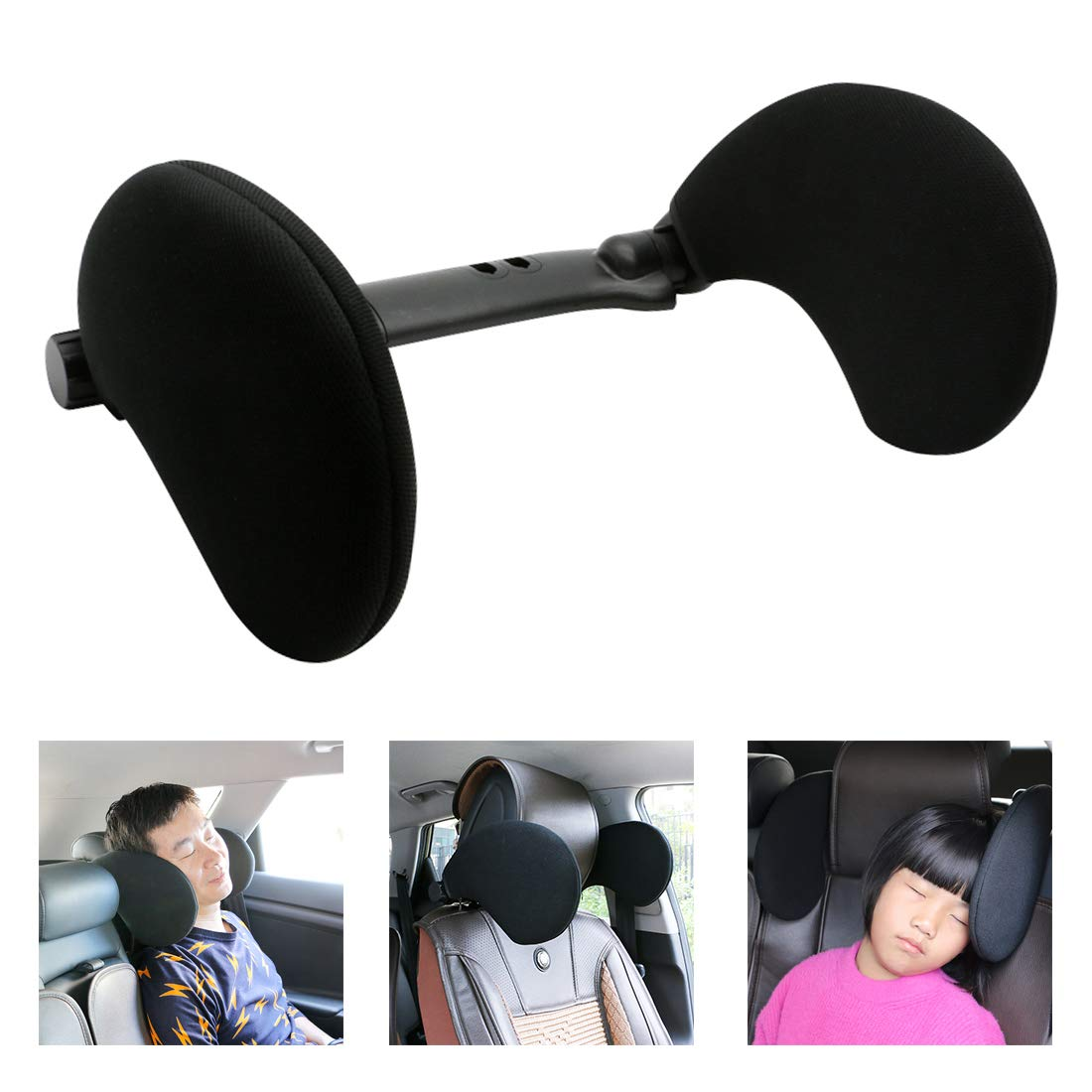 YOLOKE Adjustable Car Headrest Pillow, Car Neck Pillow for Travel Sleeping, Detachable Head Neck Support Cushion Car Pillow for Kids Adults (Black) by YOLOKE