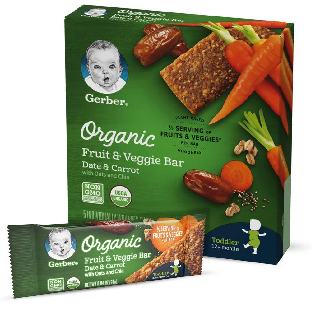 Gerber Organic Fruit & Veggie Bar, Date & Carrot, 0.84 oz Bars, 5 Count (Pack of 8)