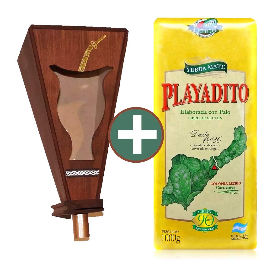 Kit Playadito x 2.2 Lbs Yerba Mate + Wood Dispenser for yerba