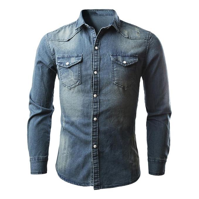 Hombres Camisetas, Retro Denim Camisa Blusa de Vaquero Moda Slim Thin Tops Largos Mezcla de