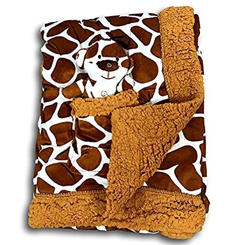 Animal Print Velour Blanket - Metta Baby Blanket Animal Giraffe Print Velour Sherpa Faux Sheep Fur Unisex Plush Toy in Pocket 30 by 40 Brown
