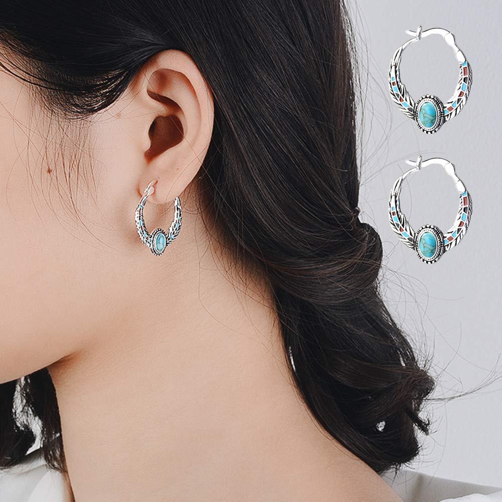 Everrikle Earrings,Bohemian Women Faux Turquoise Eagle Feather Carved Huggie Earrings Jewelry Decor