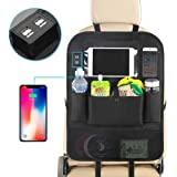 Backseat Car Organizer For Kids, Kick Mats Back Seat Car Protector With Multi Pocket Storage Bag Holder & 4 USB Port For IPad Tablet Bottle Drink Tissue Box Toys Vehicles Travel Accessories