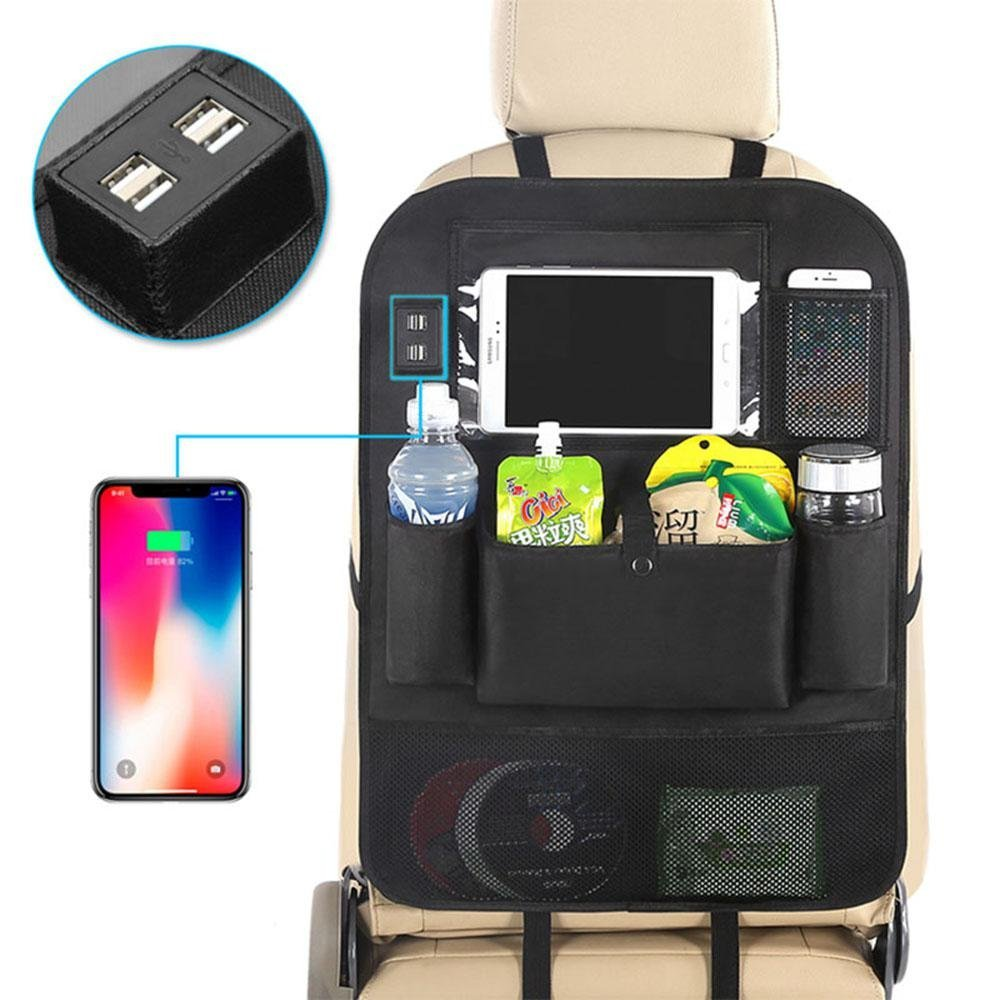 AOLVO Backseat Car Organizer for Kids, Kick Mats Back Seat Car Protector with Multi Pocket Storage Bag Holder & 4 USB Port for IPad Tablet Bottle Drink Tissue Box Toys Vehicles Travel Accessories