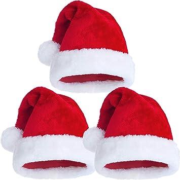 Tatuo 3 Pack Sombrero de Navidad, Gorro de Navidad de Terciopelo Rojo de Felpa con Puños Blancos y Interior Cómodo, Gorra de Papá Noel para Adultos, Mujeres, Hombres, Adolescentes: Amazon.es: Juguetes y