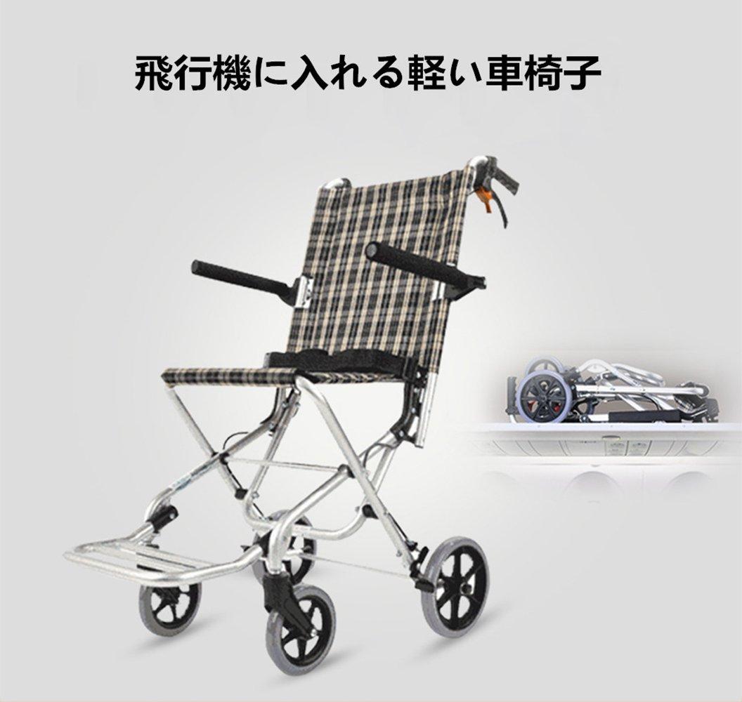 DHGK車椅子 ケアテック 軽量車いす 折りたたみ式車イス 携帯バッグ付き 軽い 座面幅約34cm コンパクト 介助ブレーキ付き アルミニウム合金 ノーパンタイヤ B07DF7K7HN