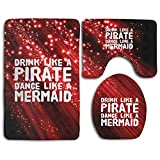 Drink Like A Pirate Dance Like A Mermaid Skidproof Toilet Seat Cover Bath Mat Lid Cover