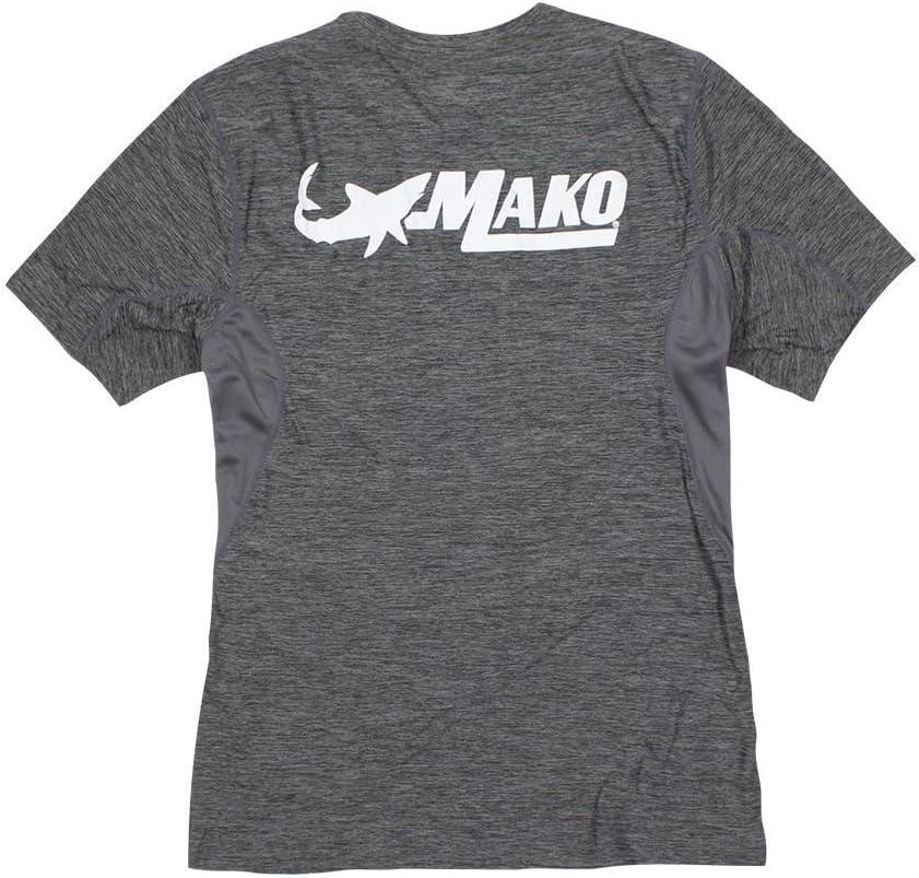 Mako Boats 100/% Polyester Storm Performance Short Sleeve Shirt Charcoal