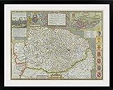 "greatBIGcanvas Mapa de Norfolk, Inglaterra Lámina fotográfica con marco negro, 36 ""X 27"""