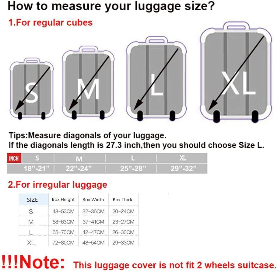 Oureong Luggage Cover Travel Elastic Spandex Luggage Cover for 19-21 Inch Luggage Against Dirt and Scratch and Water Resistance Anti-Scratch Dustproof Suitcase Cover 22-24 Color : C, Size : M