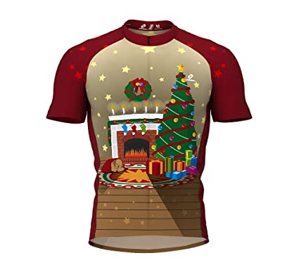 Christmas Fireplace Short Sleeve Cycling Jersey for Women Size XS 0c329c803
