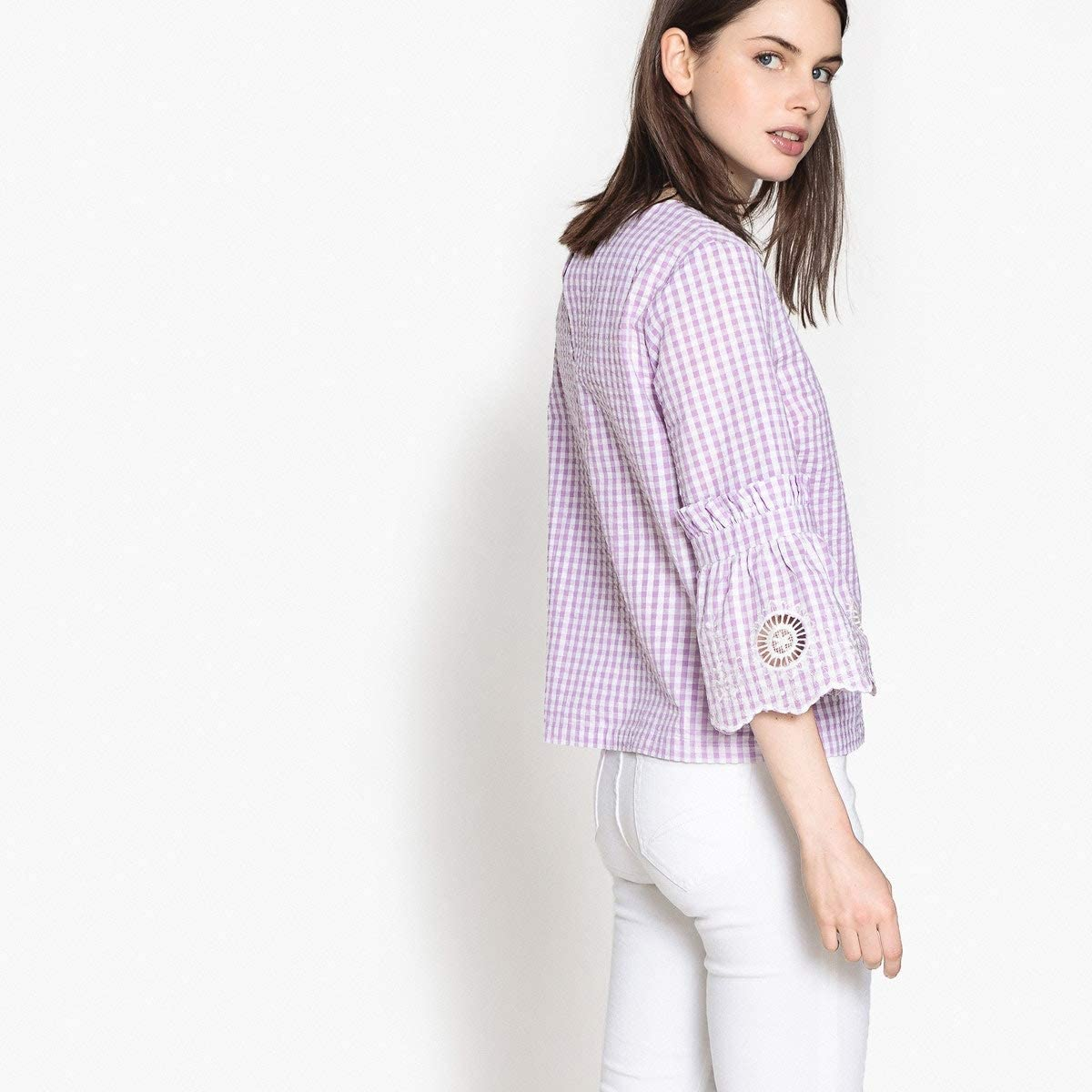 La Redoute Womens Gingham Check Blouse with Embroidered Bell Sleeves