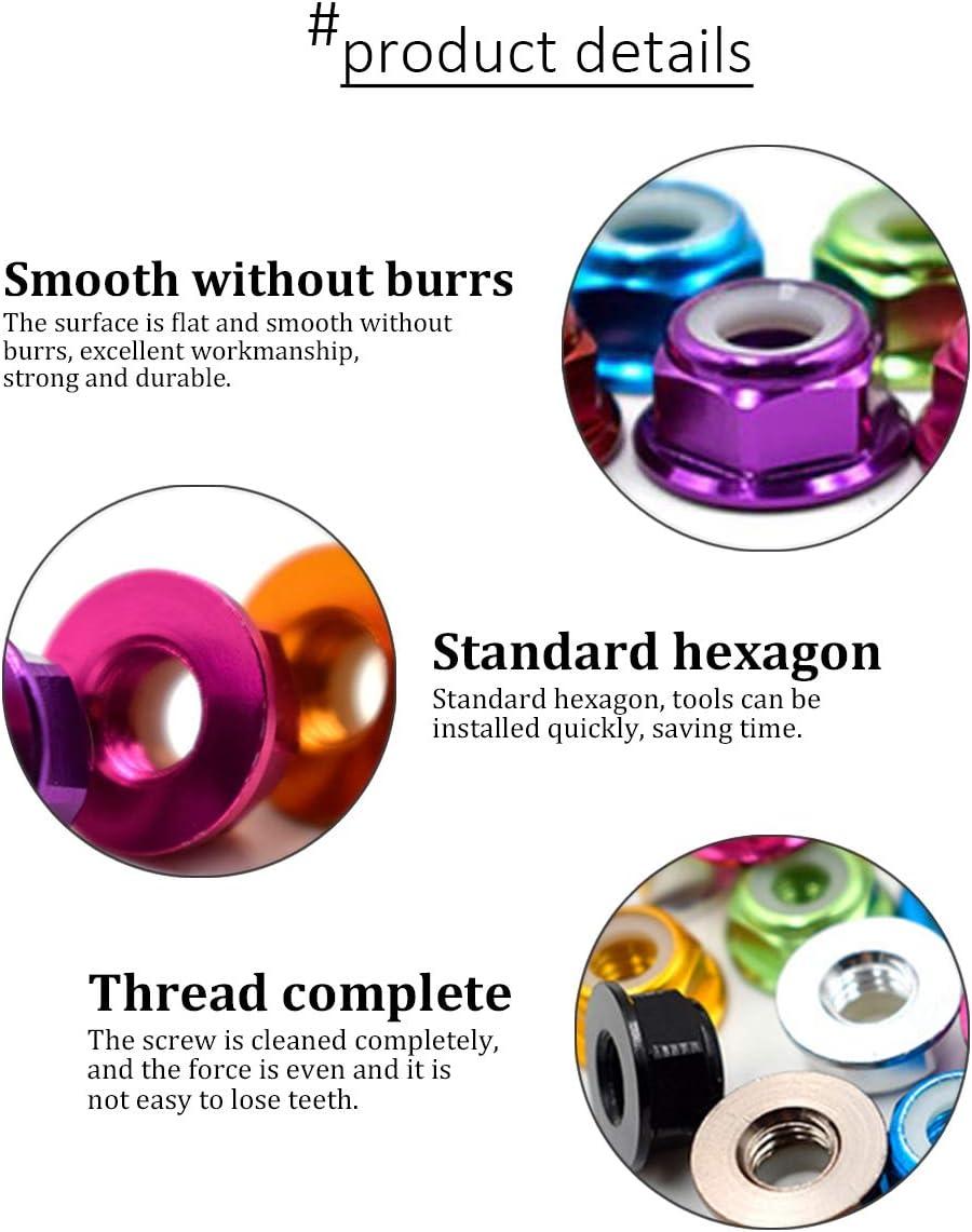 Anti-Loose Nut XFentech 10pcs M2 Lock Nuts Flanged Nylon Insert Self-Locking Nuts Purple
