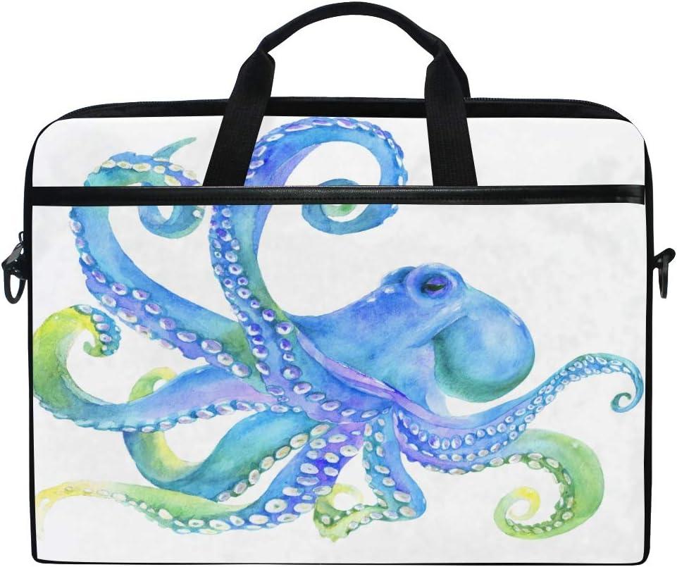 YVONAU Laptop Bag Cartoon Sea Octopus Tentacle Travel Notebook Bag Shoulder Messenger Bag 14-14.5 Inch Computer Laptop Case Sleeve for Women Men Boys Girls